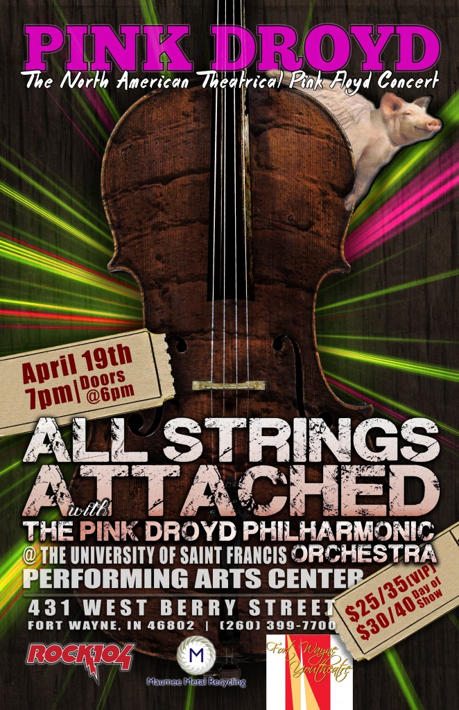 Pink Droyd Concert featuring all your favorite Pink Floyd songs and the Pink Droyd Philharmonic Orchestra.