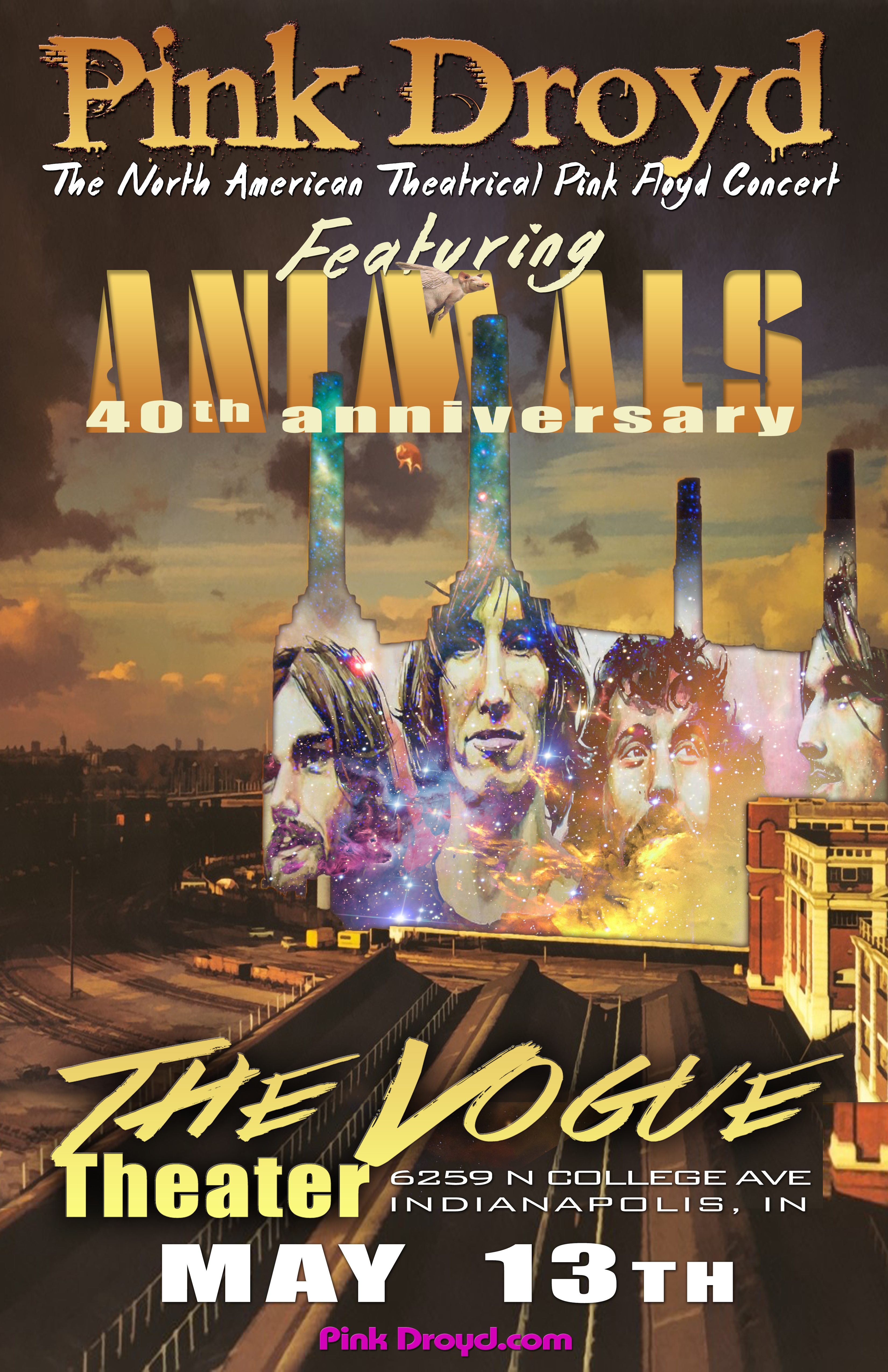 Pink Droyd Concert featuring the album Animals and other of your favorite Pink Floyd songs.